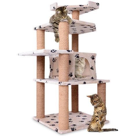 Kratzbaum Katzenkratzbäume Kletterbaum Spielen, Schlafen und Relaxen113cm Hoch