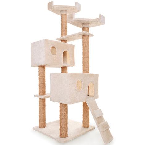 Kratzbaum Katzenkratzbaum Kletterbaum Katzen Groß Spielbaum Beige