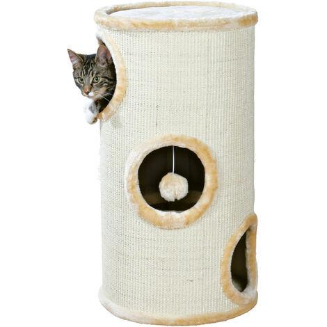 Kratzbaum - Katzenturm Samuel. ø 37 cm x 70 cm hoch. Farbe beige. für Katze.