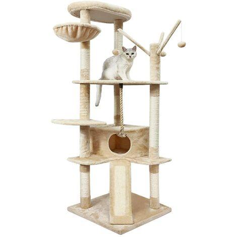 Kratzenbaum, Kletterbaum, Katzenkratzbaum, Katzenhaus, Katzenspielhaus, großer Kletterbaum mit Kratzsisal, Stabiler Katzenbaum, Säulen mit Natürlicher Sisal umwickelt, 167cm, Beige-Meerveil
