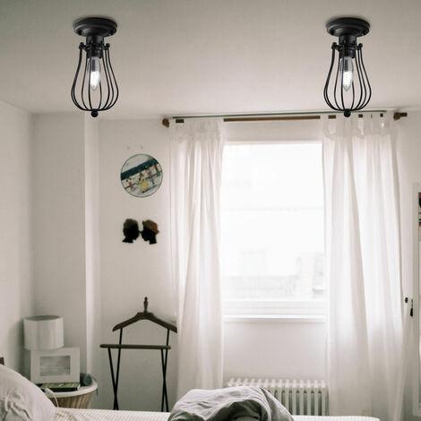 Kreative Vintage Ovale Deckenleuchte Metall Kronleuchter Industrie Pendelleuchte für Schlafzimmer Cafe Bar Schwarz - 00579_1