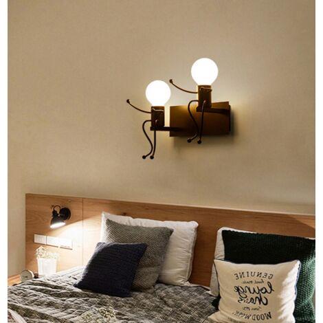Kreative Vintage Wandleuchte 2 flammig LED Industrie Retro Wandlampe Schwarz Eisen E27 Halter Innen Art Deco für Bar Schlafzimmer Küche Restaurant Café Flur Schwarz - 00179_1