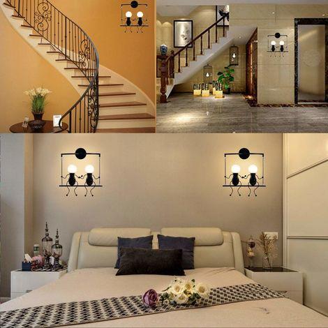 Kreative Wandleuchte Moderne Wandlampe Einfache Kerzen Wandleuchten 60W E27 für Kinder Zimmer, Schlafzimmer Treppen Flur Restaurant Küche Swing Schwarz - 00875_4