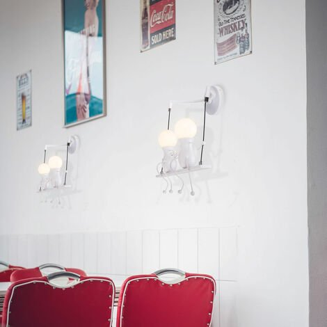 Kreative Wandleuchte Moderne Wandlampe Einfache Kerzen Wandleuchten 60W E27 für Kinder Zimmer, Schlafzimmer Treppen Flur Restaurant Küche Swing Weiß - 00875_5