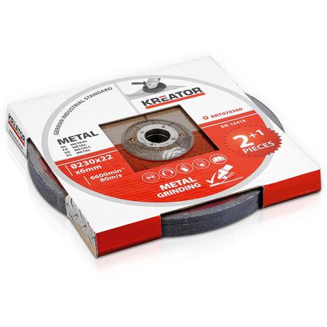 Kreator 3PK Metal Grinding Discs 230mm 22mm Bore KRT070360