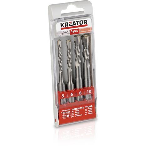 Kreator 4pc 5-6-8-10 x 110mm SDS Drill Bit Set KRT012601