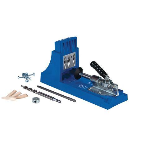 KREG Jig K4 Starter Set ( K4 ) Kit complet d'assemblage pour charpentier en bois avec gabarit de perçage K4, Foret étagé, Embouts, vis et chevilles.