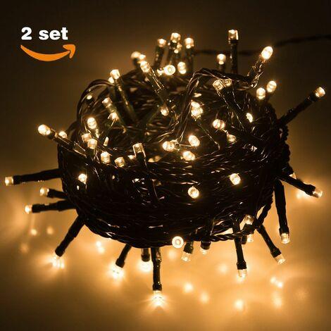 Krismase Guirnalda de 100 Luces LED Decorativas con 8 Modos de iluminación, 10 Metros de Largo, Ideales para la decoración del hogar, Navidad, Fiestas, Color Blanco cálido