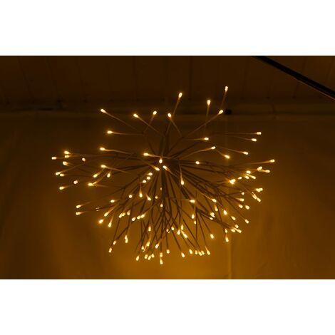 Krismase Lámpara de Techo de 126 LED, Estilo de Fuegos Artificiales con Parpadeo, de Acero Inoxidable, diámetro de 60 cm, Color Blanco cálido