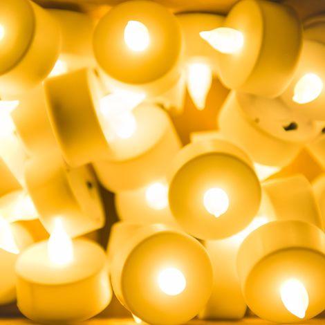 Velas LED realistas, 30pcs de 3.8 x 3.7 cm, Ideales para Navidad, Halloween, Fiestas y Celebraciones, Color Blanco cálido [Clase de eficiencia energética A+++]