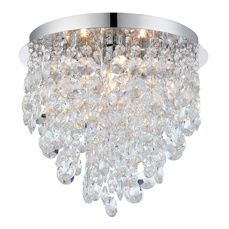 Image of 3 Light Flush Clear Crystal and Steel Chrome Plate Chandelier