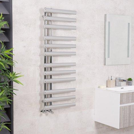 Kristiansund 1200 x 450mm Oval Chrome Designer Heated Towel Rail