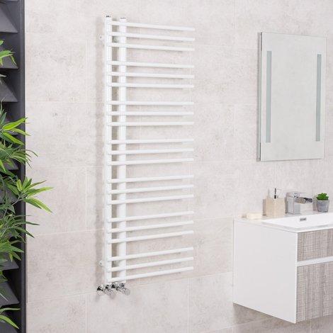 Kristiansund 1250 x 500mm Round White Designer Heated Towel Rail