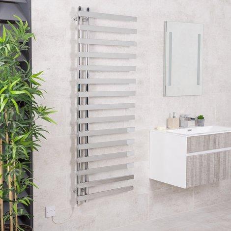 Kristiansund 1600 x 600mm Chrome 500w Manual Electric Designer Heated Towel Rail