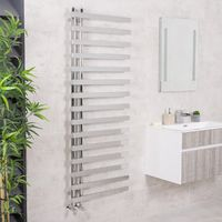 Kristiansund 1600 x 600mm Square Chrome Designer Heated Towel Rail