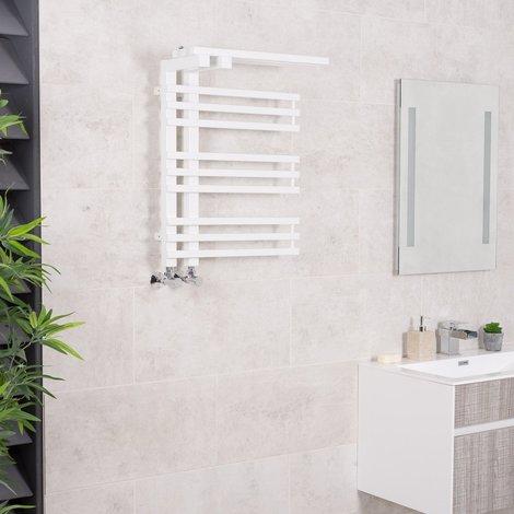 Kristiansund 650 x 500mm White Designer Heated Towel Rail with Shelf