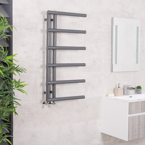 Kristiansund 988 x 500mm Grey Designer Heated Towel Rail