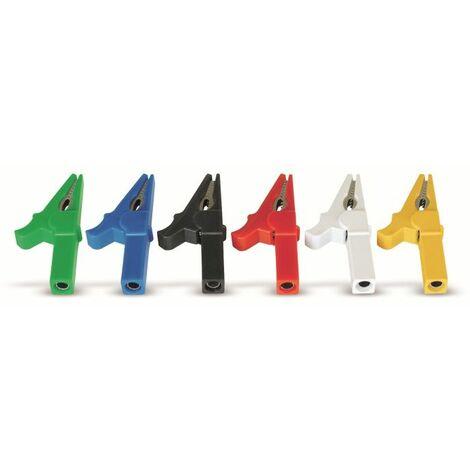 Krokodilklemmen mit 4 mm Labor-Sicherheitsbuchsen, 6 Stück