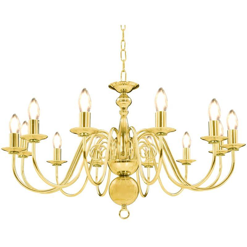 Vidaxl - Kronleuchter Golden 12 x E14-Glühbirnen