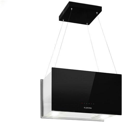 Kronleuchter L Inselabzugshaube 60cm Abluft: 590m³/h LED Touch Glas schwarz