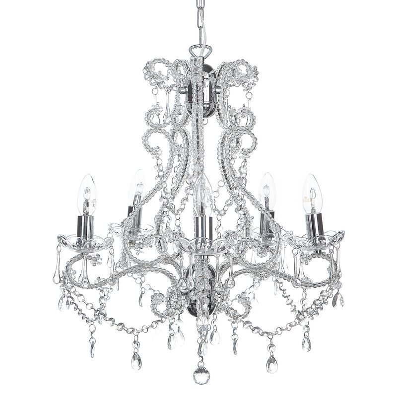 Beliani - Kronleuchter Silber Eisen 5-flammig mit Kristallen aus Acrylglas venezianischer Glamour Stil