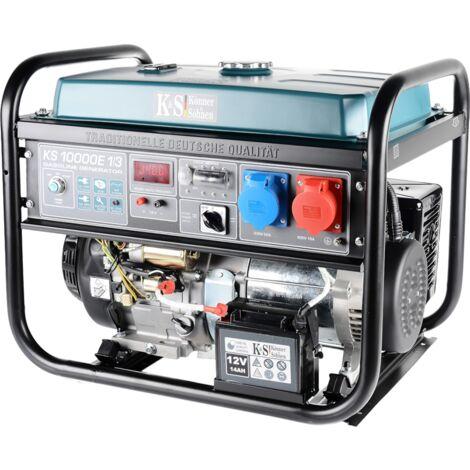 KS 10000E-1/3 Benzin Stromerzeuger 8000 Watt, 1x32A (230V), 1x16A (400V), 12V, Spannung 230/400V, E-Start, Automatischer Voltregler (AVR), Anzeige (Volt, Hz, Arbeitszeit), Generator, 100% Kupfer.