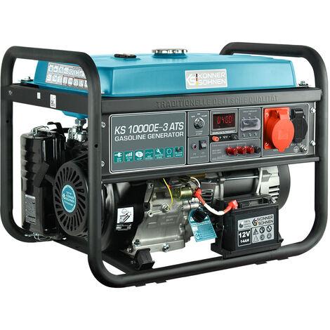 KS 10000E-3 ATS Benzin Stromerzeuger 8000 Watt, 1x16A (230V), 1x16A (400V), 12V, E-Start, ATS Notstromautomatik, Automatischer Voltregler(AVR), Anzeige (Volt, Hz, Arbeitszeit), Generator, 100% Kupfer