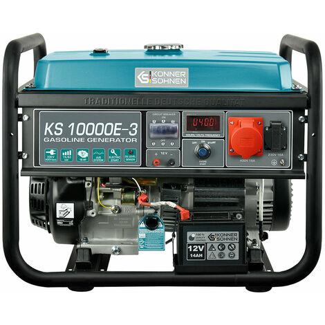 KS 10000E-3 Benzin Stromerzeuger 8000 Watt, 1x16A (230V), 1x16A (400V), 12V, E-Start, Automatischer Voltregler (AVR), Ölmangelsicherung, Überspannungsschutz, Anzeige (Volt, Hz, Arbeitszeit), Generator, 100% Kupfer