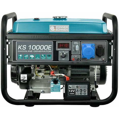 KS 10000E Benzin Stromerzeuger 8000 Watt, 1x16A (230V), 1x32A (230V), 12V, E-Start, Automatischer Voltregler (AVR), Ölmangelsicherung, Überspannungsschutz, Anzeige (Volt, Hz, Arbeitszeit), Generator, 100% Kupfer