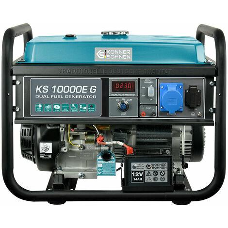 KS 10000E G Hybrid Stromerzeuger 8000 Watt, DUAL FUEL Benzin/LPG, E-Start, 1x16A (230V), 1x32A (230V), 12V, Automatischer Voltregler(AVR), Anzeige (Volt, Hz, Arbeitszeit), Generator, 100% Kupfer