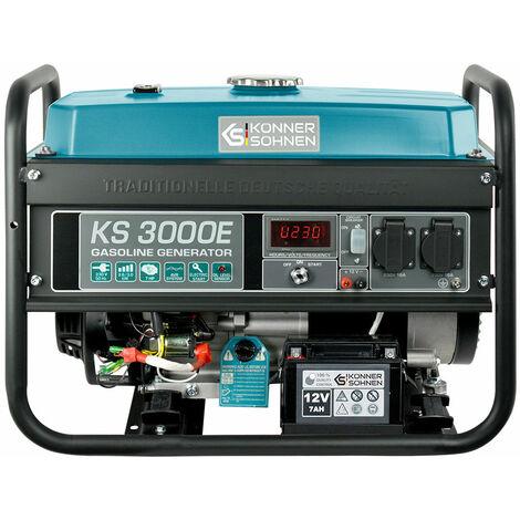 KS 3000E Benzin Stromerzeuger 3000 Watt, 2x16A (230V), 12V, E-Start, Automatischer Voltregler (AVR), Ölmangelsicherung, Überspannungsschutz, Anzeige (Volt, Hz, Arbeitszeit), Generator, Stromaggregat, 100% Kupfer