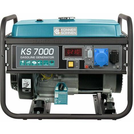 KS 7000 Benzin Stromerzeuger 5500 Watt, 1x16A (230V), 1x32A (230V), 12V, Automatischer Voltregler (AVR), Ölmangelsicherung, Überspannungsschutz, Anzeige (Volt, Hz, Arbeitszeit), Generator, Notstromaggregat, 100% Kupfer