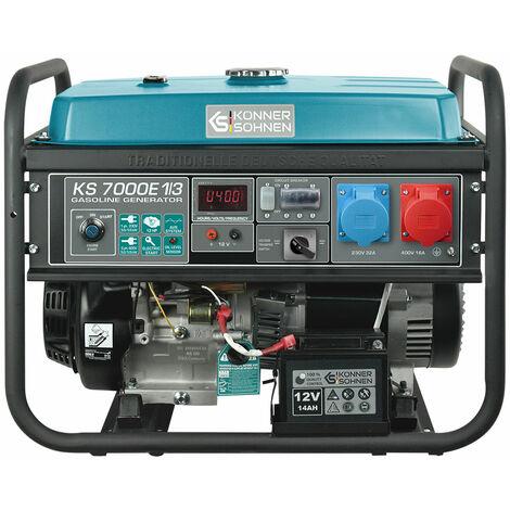 KS 7000E-1/3 Benzin Stromerzeuger 5500 Watt, 1x32A (230V), 1x16A (400V), 12V, Spannung 230/400V , E-Start, Automatischer Voltregler (AVR), Ölmangelsicherung, Überspannungsschutz, Anzeige (Volt, Hz, Arbeitszeit), Generator, 100% Kupfer.