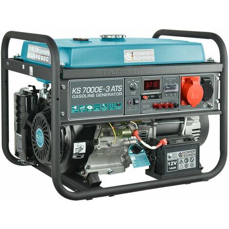 KS 7000E-3 ATS Benzin Stromerzeuger 5500 Watt, 1x16A (230V), 1x16A (400V), 12V, E-Start, ATS Notstromautomatik, Automatischer Voltregler(AVR), Anzeige (Volt, Hz, Arbeitszeit), Generator, 100% Kupfer