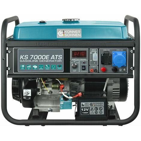 KS 7000E ATS Benzin Stromerzeuger 5500 Watt, 1x16A (230V), 1x32A (230V), 12V, E-Start, ATS Notstromautomatik, Automatischer Voltregler (AVR), Anzeige (Volt, Hz, Arbeitszeit), Generator, 100% Kupfer