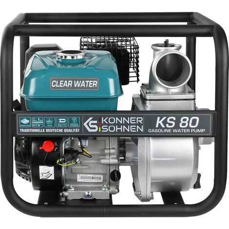 KS 80 Benzin Wasserpumpe, 7.0 PS, 1000 l/min, 30m Förderhöhe, 8m Ansaugtiefe, 80mm, Aluminium Gehäuse, Effizienter Kraftstoffverbrauch, Motorpumpe für reines Wasser