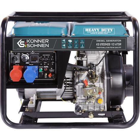 KS 8100HDE-1/3 ATSR Diesel Stromerzeuger 6500 Watt, 1x32A (230V), 1X16A (400V), 12V, Spannung 230/400V , E-Start, Automatischer Voltregler (AVR), Anzeige (Volt, Hz, Arbeitszeit), Generator, Anschluss der Notsrtomautomatik möglich (ATSR), 100% Kupfer