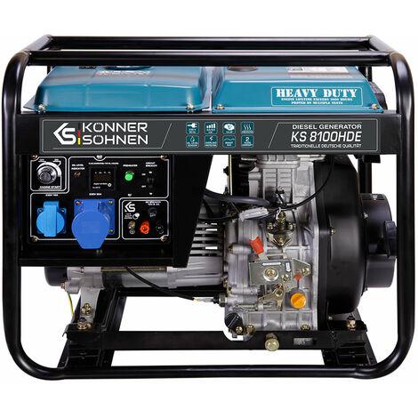 KS 8100HDE Diesel Stromerzeuger 6500 Watt, 1x16A (230V), 1X32A (230V), 12V, E-Start, Automatischer Voltregler (AVR), Ölmangelsicherung, Überspannungsschutz, Anzeige (Volt, Hz, Arbeitszeit), Generator, 100% Kupfer