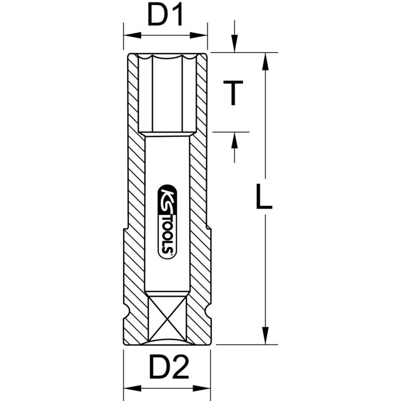 """KS TOOLS 1//2/"""" Alu-Felgen Kraft-Stecknuss lang 17mm 515.2017"""