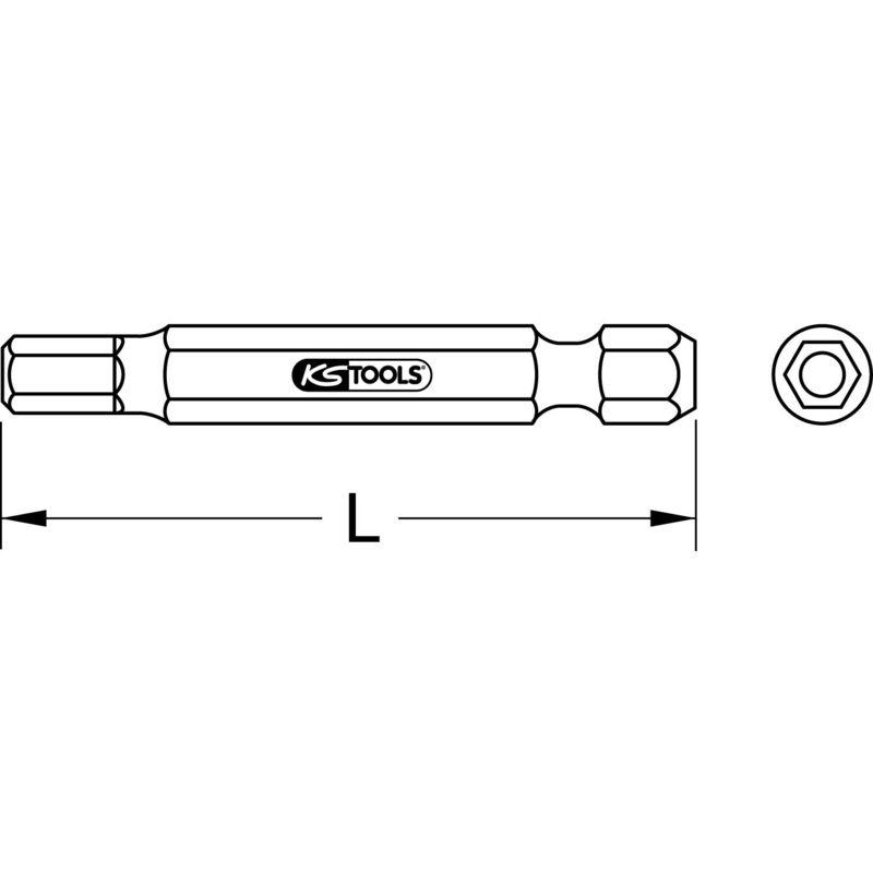 Ks/_Tools 1//4 Bit Innensechskant mit Stirnlochbohrung 2mm 911.7510