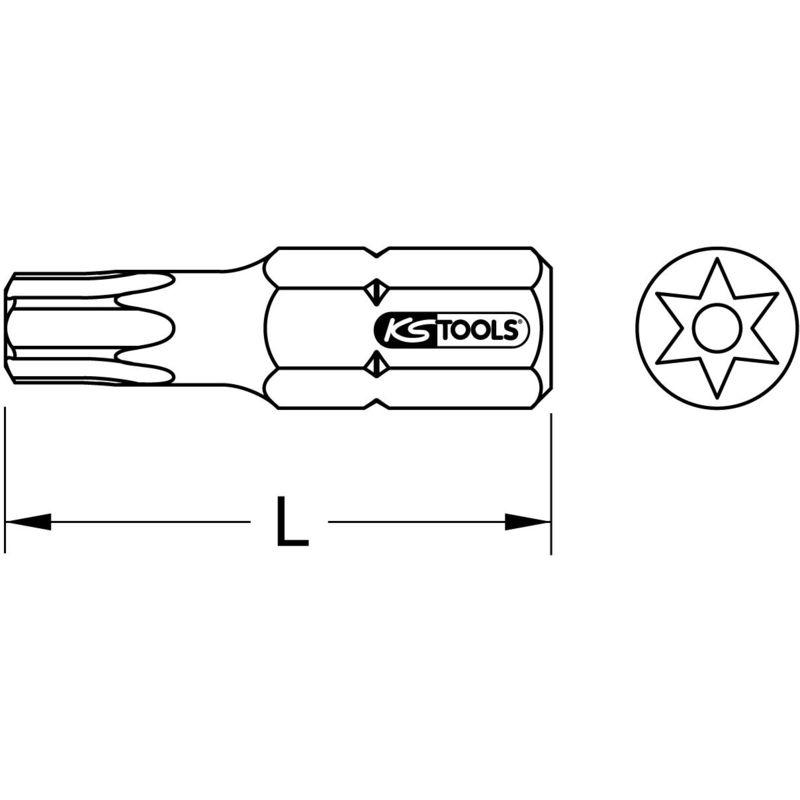 """KS Tools 1//4/"""" EDELSTAHL Bit 25mm TB30"""