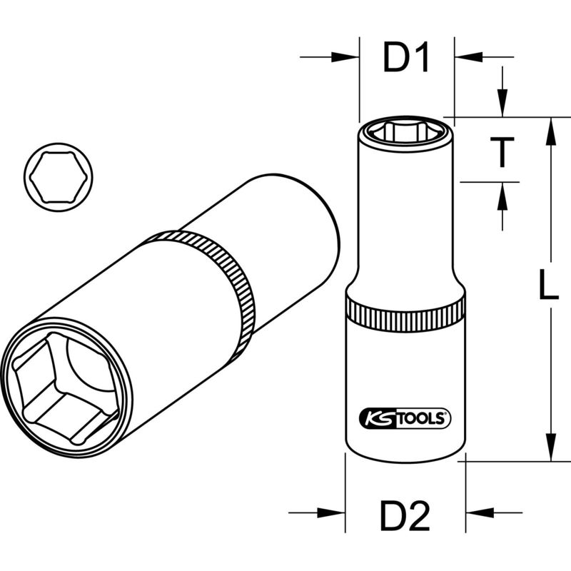 "13//16/"" KS Tools 1//2/"" CHROMEplus Zündkerzen-Stecknuss"