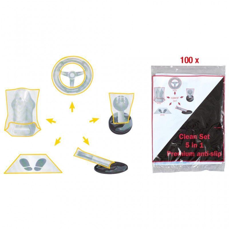Kit de 5 protections plastiques pour habitacle, boite de 100pcs