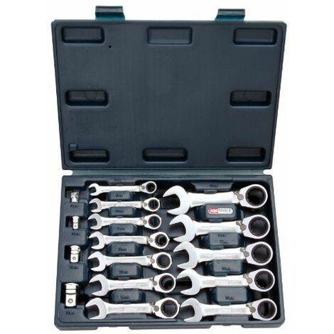 KS Tools 503.4653 Coffret mini clé mixte réversible à cliquet Gear plus 16 pièces 8 à 19 mm