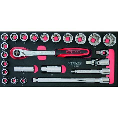 KS TOOLS 713.1024 Module de douilles et accessoires ULTIMATE® 1/2'', 24 pièces 127.5776635514018692912623942