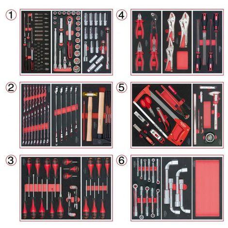 KS TOOLS 714.0202 Composition d'outils 6 tiroirs pour servante, 202 pièces 6 tiroirs