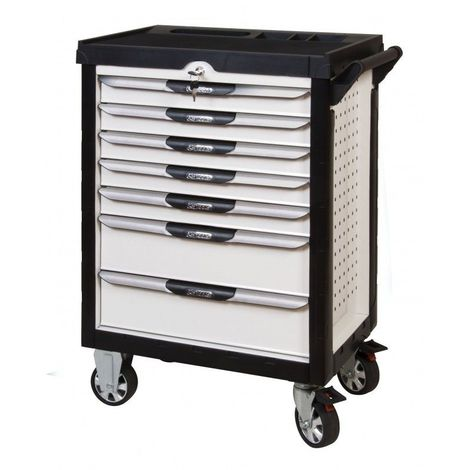 KS TOOLS 803.7380 Servante ULTIMATE blanche 7 tiroirs équipée de 384 outils 7 tiroirs