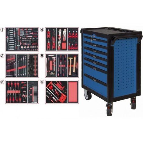 KS TOOLS 804.7452 Servante ULTIMATE bleue 7 tiroirs équipée de 455 outils 7 tiroirs