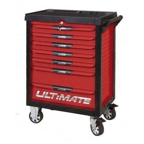 KS TOOLS 809.7380 Servante ULTIMATE rouge 7 tiroirs équipée de 384 outils 7 tiroirs
