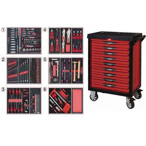 KS TOOLS 809.9452 Servante ULTIMATE rouge 9 tiroirs équipée de 455 outils 9 tiroirs
